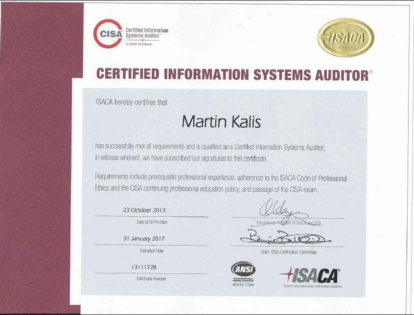 CISA (Certified Information Systems Auditor) | Martin Kalis