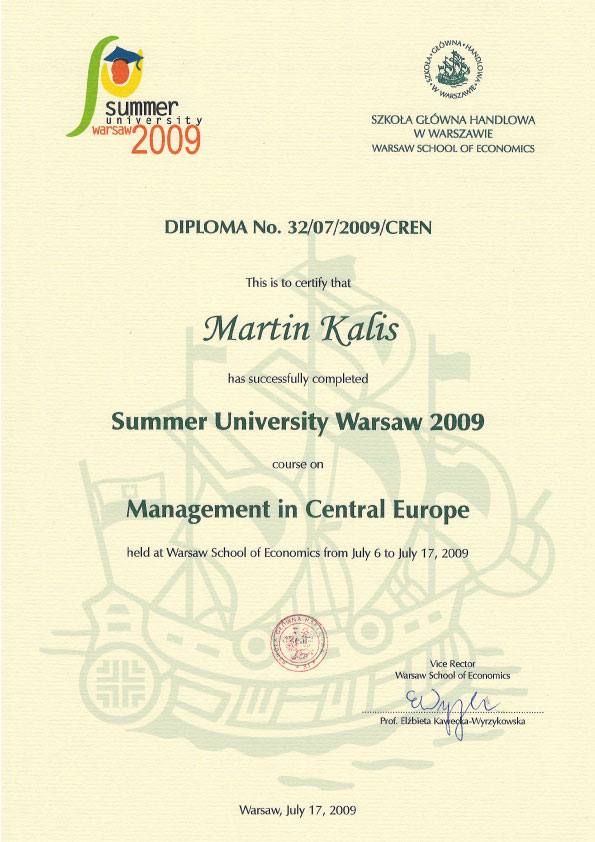 Summer University Warsaw 2009 Certificate
