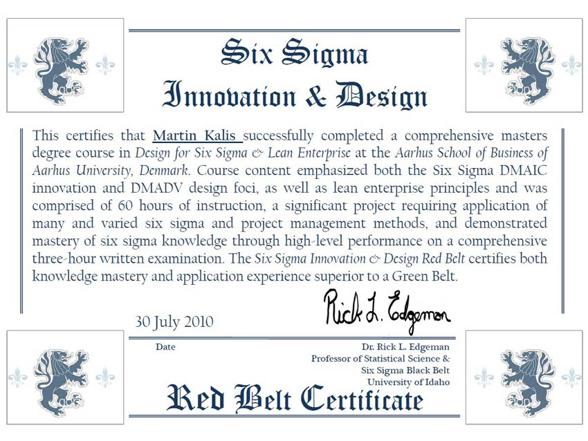 Design for Six Sigma and Lean Enterprise Certificate
